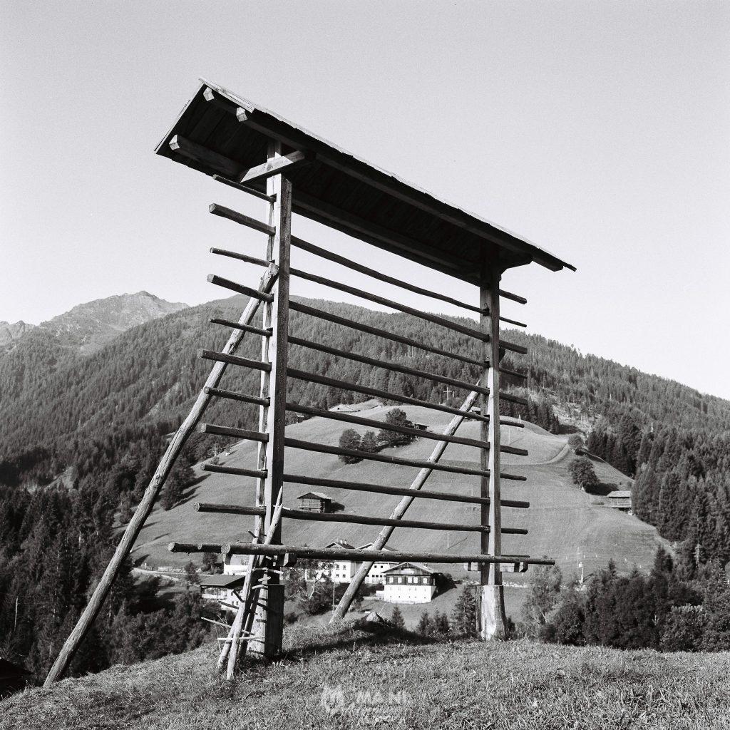Una rastrelliera storica per l'essicazione del fieno