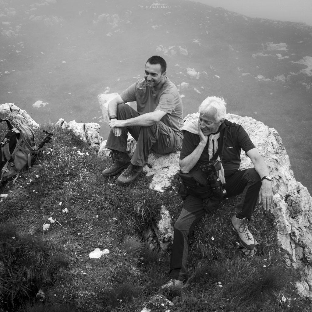 Io e Stefano Zardini aspettando che le nubi di dissolvano nelle Dolomiti del Brenta