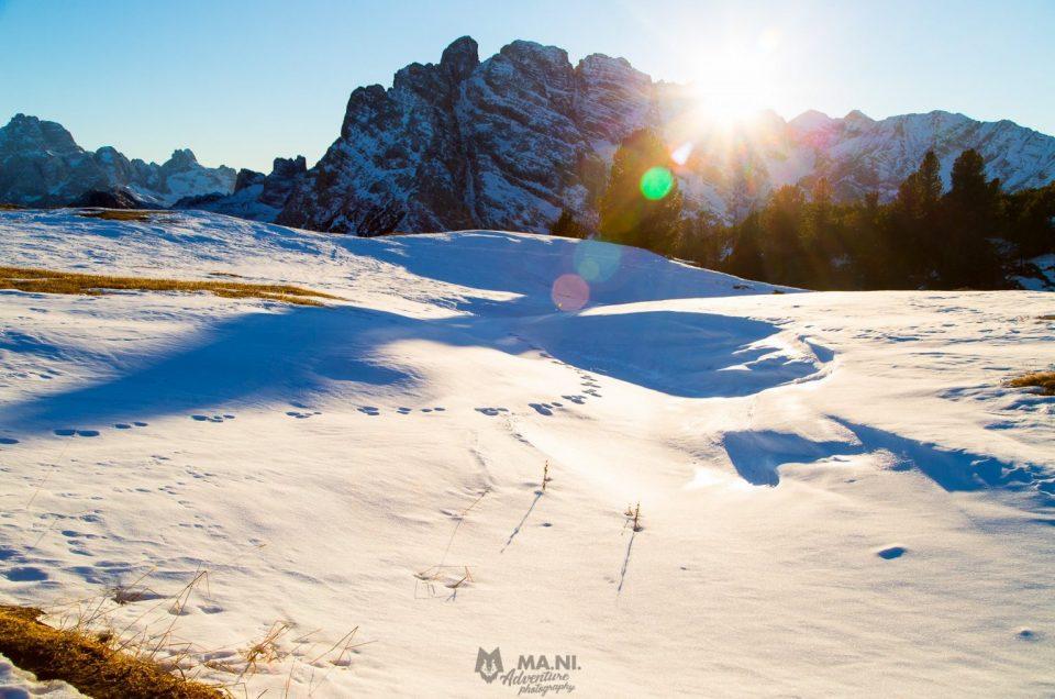 Gennaio il sole tramonta sul Gruppo del Cristallo, Cortina d'Ampezzo