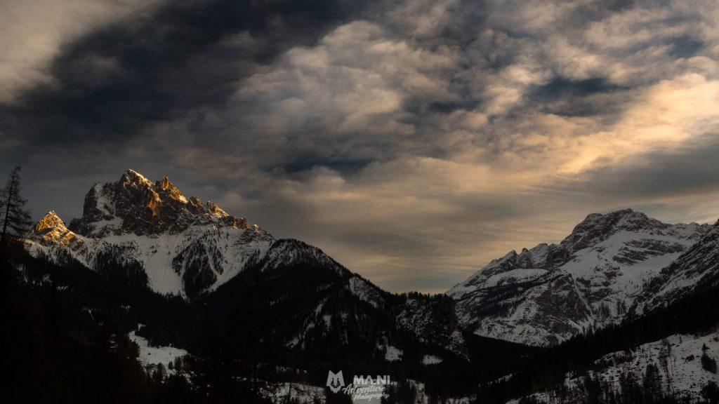 Il Picco di Vallandro e la Croda Rossa d'Ampezzo al tramonto